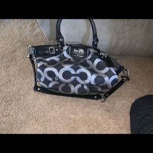BLACK AND SILVER REAL COACH BAG